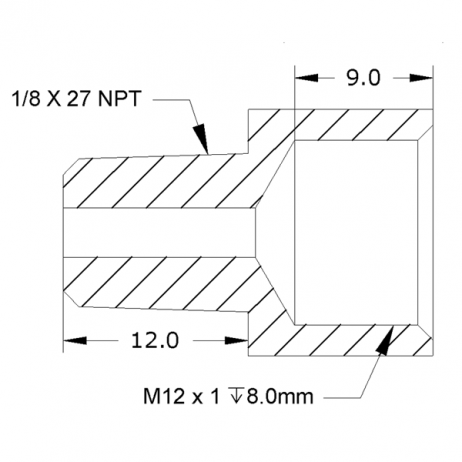 image of 1/8 NPT male to M12 x 1 female thread adapter