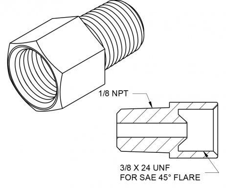 IMAGE OF BQ48 1/8 NPT TO 3/8 24 THREAD ADAPTER